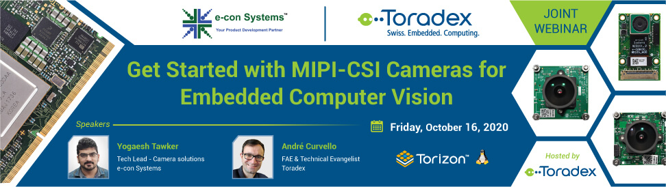 Joint Webinar: Toradex about how to get Started with MIPI-CSI Cameras for Embedded Computer Vision